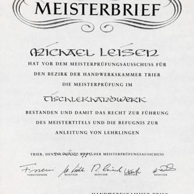 Meisterbrief Michael Leisen Tischlerhandwerk