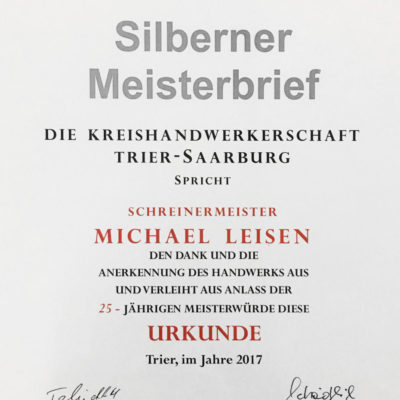 Silberner Meisterbrief Michael Leisen